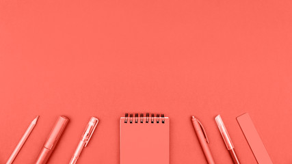 Trendy living coral color of year 2019 stationery flat lays