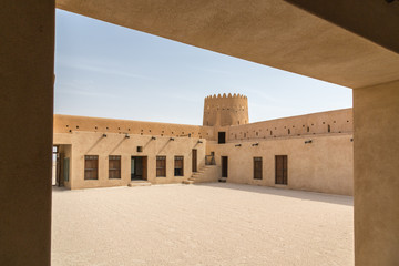 Inside old Al Zubara Fort (Az Zubarah Fort), historic Qatari military fortress built from coral rock and limestone and cemented with a mud mortar