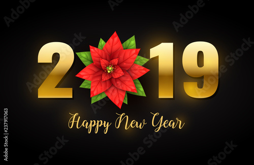 2019 happy new year background decorated with realistic poinsettia flower isolated on black shiny concept