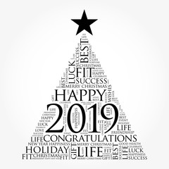 2019 year greeting word cloud collage, Happy New Year celebration word cloud card in the shape of a christmas tree