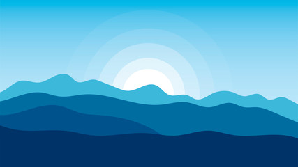 Landscape vector illustrations with hills, mountains, sky and sun. Wall mural