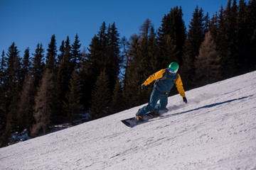snowboarder running down the slope and ride free style