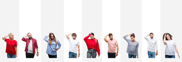Collage of different ethnics young people over white stripes isolated background confuse and wonder about question. Uncertain with doubt, thinking with hand on head. Pensive concept. Wall mural