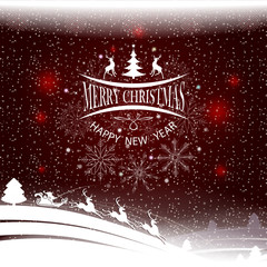 Christmas pattern with a silhouette of Christmas trees, Santa Claus with deer, text and a set of snowflakes.