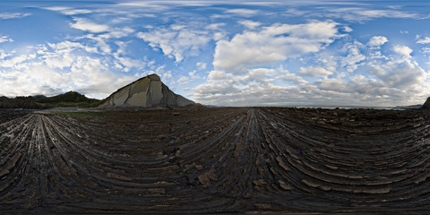 Detail of the coast cliffs in Zumaia flysch - 360 Equirectangular, Basque Country