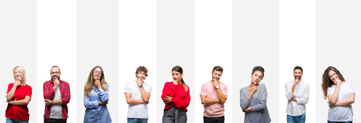 Collage of different ethnics young people over white stripes isolated background looking confident at the camera with smile with crossed arms and hand raised on chin. Thinking positive.