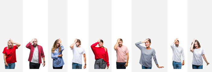 Collage of different ethnics young people over white stripes isolated background surprised with hand on head for mistake, remember error. Forgot, bad memory concept.