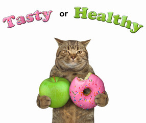 The cat holds a green apple and big pink bitten donut. Tasty or healthy. White background.
