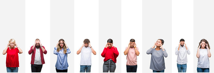 Collage of different ethnics young people over white stripes isolated background with hand on head for pain in head because stress. Suffering migraine.