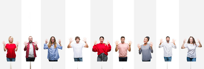 Collage of different ethnics young people over white stripes isolated background showing and pointing up with fingers number ten while smiling confident and happy.