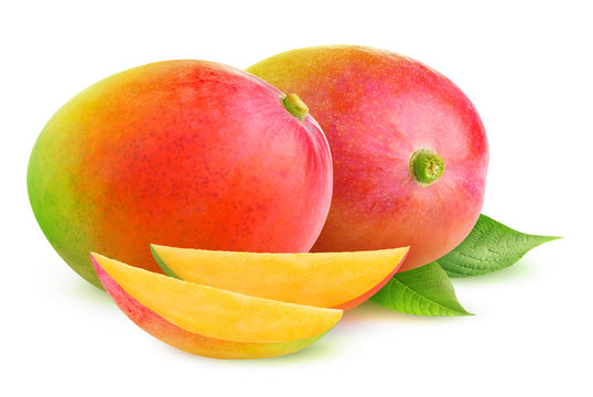 Isolated mango. Two mango fruit and slices isolated on white background with clipping path