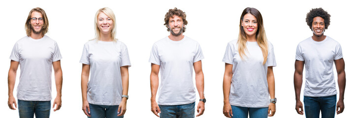 Collage of group of people wearing casual white t-shirt over isolated background with a happy and cool smile on face. Lucky person.