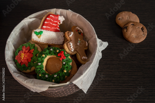 Metal Box Full Of Homemade Christmas Cookies With Different Shapes