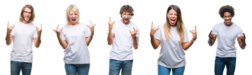 Collage of group of people wearing casual white t-shirt over isolated background shouting with crazy expression doing rock symbol with hands up. Music star. Heavy concept.
