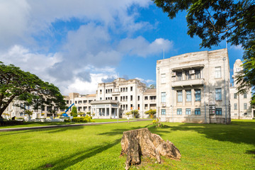 Government Buildings. Executive wing of Fiji Government offices. Prime Minister office. High Court, ministries, Parliament. Melanesia, Oceania