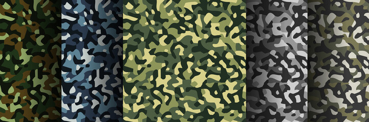 Set of 5 pack Camouflage seamless patterns. Abstract modern military textile print background. Vector illustration.