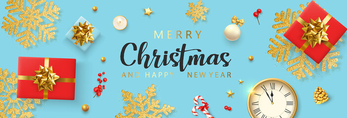 Merry Christmas and Happy New Year banner with clock, red gifts and golden snowflakes.