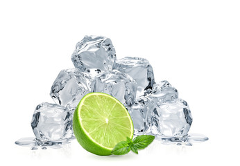 Ice cubes, lime wedge and basil leaves isolated on white background
