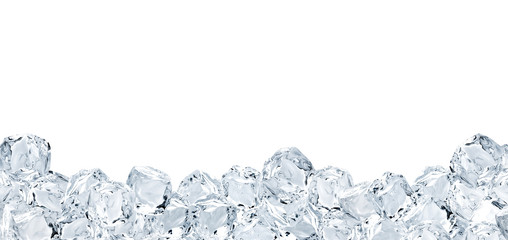 Large format ice cubes background isolated on white background