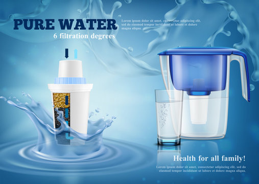 Water Filters Realistic Advertising Composition