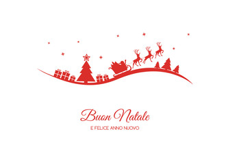 Buon Natale - translated from italian as Merry Christmas. Vector