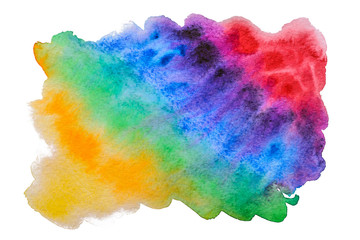 Abstract watercolor rainbow stain handmade. Isolated watercolor illustration for decoration
