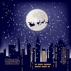 Christmas background. Santa Claus on the sleigh with reindeers. Christmas night