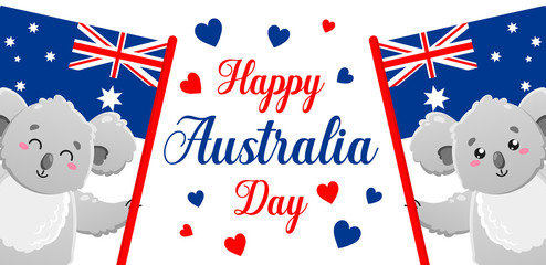 Vector poster on white background. Happy Australia Day. Cute funny koala. Template for print, design