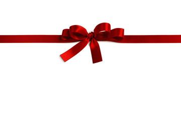 Wall Mural - Shiny red satin ribbon bow