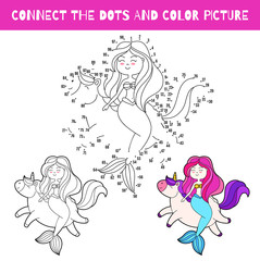 Fun game for kids. Connect dots and color picture . Vector cartoon illustration. Cute doodle mermaid and unicorn