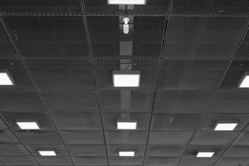 Ceiling with neon lights in aiport. Abstract empty  interior space .
