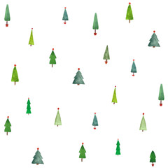 watercolor christmas trees seamless pattern for wrapping paper