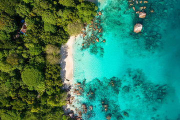 Spectacular aerial view of coastline and turquoise sea, Seychelles in the Indian Ocean.Top view from drone