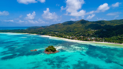 Aerial view of beautiful island at Seychelles in the Indian Ocean.Top view from drone