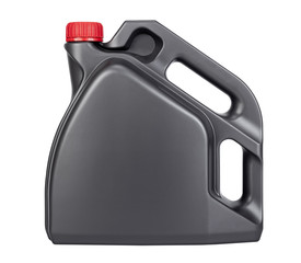 One gray plastic oil can