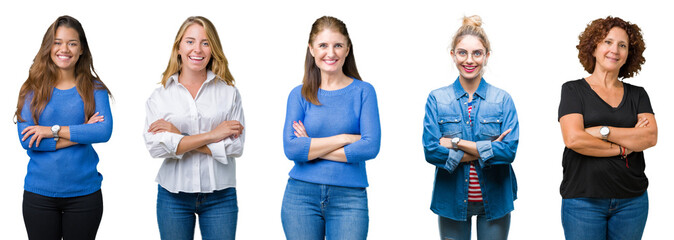 Collage of group of beautiful women over white isolated background happy face smiling with crossed arms looking at the camera. Positive person.