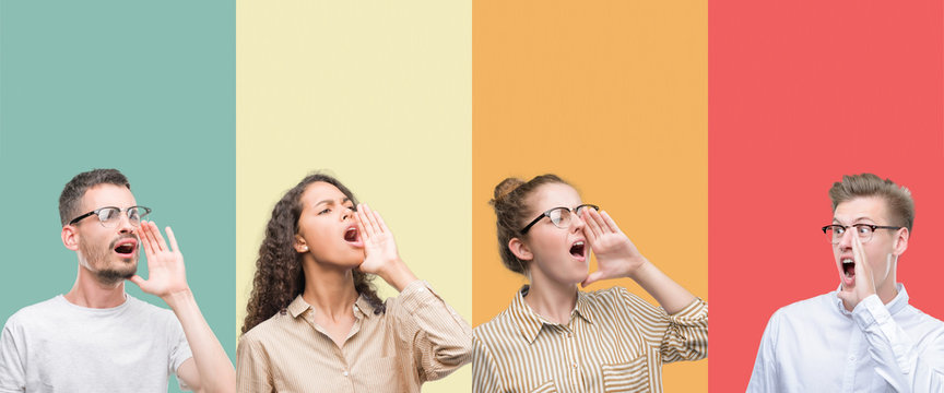 Collage of a group of people isolated over colorful background shouting and screaming loud to side with hand on mouth. Communication concept.