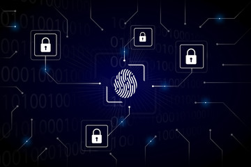 Fingerprint login authorization and cyber security concept. Blue integrated circuit with locks on background. Control access and authentication online.