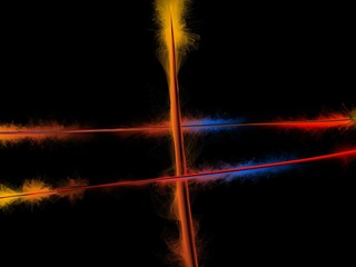 Abstract background of colorful burning wires at black