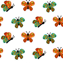 Bright colored butterflies. Seamless pattern. Isolated on white background.