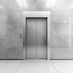 Modern steel elevator, illustration