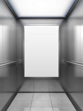 Blank billboard inside of elevator, illustration