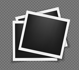 Square realistic frames template with shadows isolated on transparent background. Vector illustration