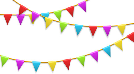 Colored garland flags isolated on white. Carnival, birthday, celebration, party, new year or festival concept. Vector illustration