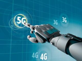 Robot selecting 5G, illustration