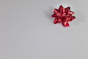Blank white page with red bow for xmas background