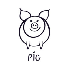 Cute little pink pig vector illustration. Hand drawn doodle line art. Black sketch isolated on white