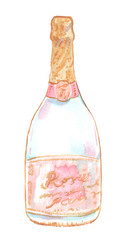 Bottle of bubbled rose beverage. Pink champagne illustration painted in watercolor on clean white background