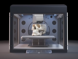 Illustration of a 3d printer printing a skull
