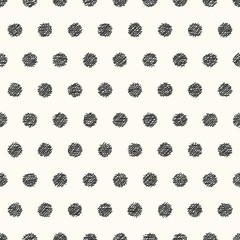 Monochrome hand drawn seamless pattern. Hatched circles. Vector illustration eps10.